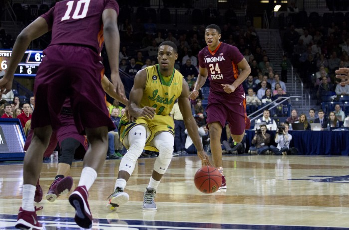 Junior guard Demetrius Jackson dribbles up the court during a 83-81 victory against Virginia Tech on Wednesday. Jackson had 18 points and 4 assists in the game.