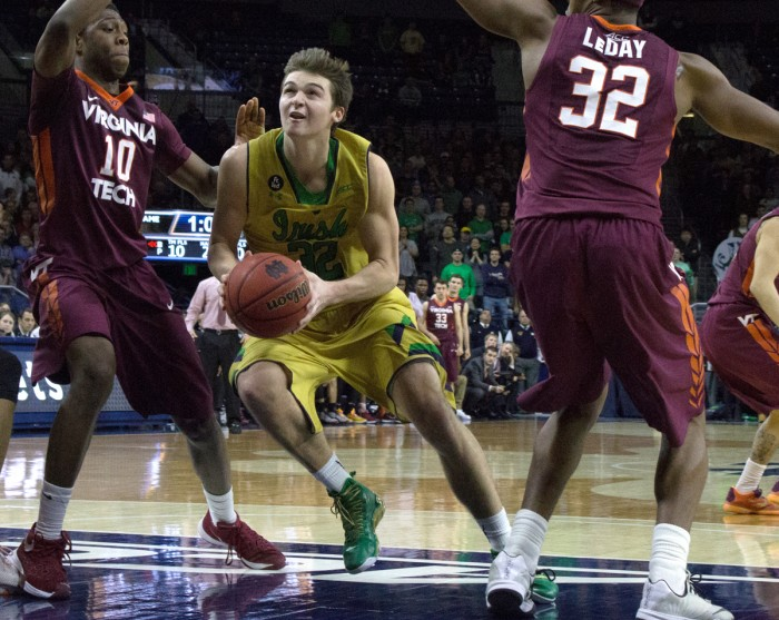 Irish senior guard Steve Vasturia dribbles through the lane during an 83-81 victory over Virginia Tech on Wednesday at Purcell Pavilion. Vasturia had 14 points and two rebounds in the win.
