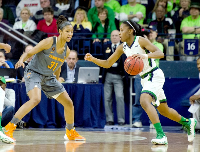Junior guard Lindsay Allen drives during Notre Dame's 79-66 victory against Tennessee on Monday at Purcell Pavilion.