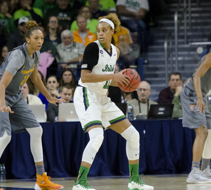 Irish sophomore forward Brianna Turner looks toward te basket during a 79-66 victory over Tennessee on Jan. 18 at Purcell Pavilion. Turner had 14 points, nine rebounds and 5 blocks in the game.