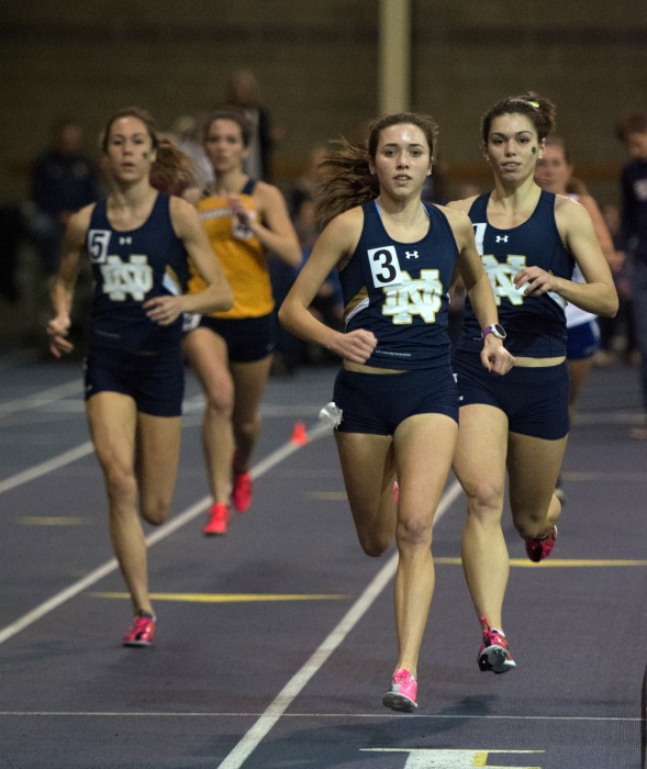 Senior middle distance runner Danielle Aragon, center, paces the Irish during Notre Dame's Blue and Gold Invitational on December 5, 2014. She will compete in this weekend's Notre Dame Invitational.