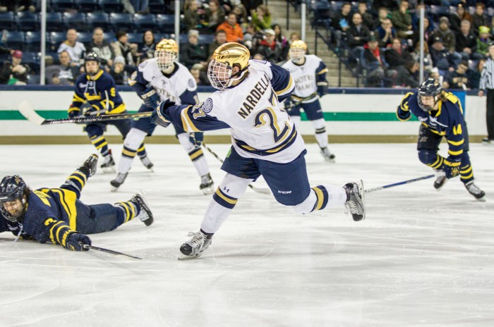 Irish freshman defenseman Bobby Nardella takes a shot during Notre Dame's 7-2 victory over Merrimack at Compton Family Ice Arena. Nardella is currently riding a seven-game point streak.