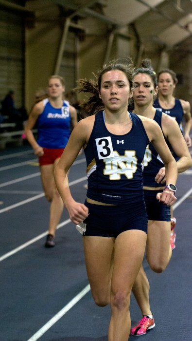 Senior Danielle Aragon breaks away from the pack during  the Blue & Gold Invitational on Dec. 5, 2014 at Loftus Sports Complex.