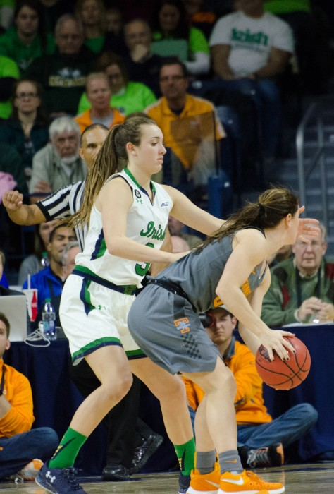 Irish freshman guard Marina Mabrey plays defense during Notre Dame's 79-66 win over Tennessee on Jan. 18 at Purcell Pavilion. Mabrey is shooting 48.9 percent from beyond the 3-point line this season.