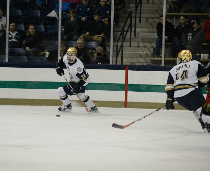 Irish sophomore left wing Anders Bjork looks to pass the puck during Notre Dame's 3-2 win over Northeastern on Nov. 12.
