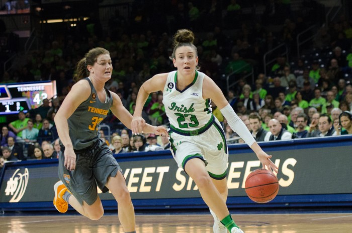 Irish senior guard Michaela Mabrey drives towards the basket during Notre Dame's 79-66 win over Tennesse on Jan. 18.