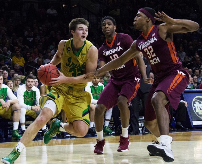 Irish junior gaurd Steve Vasturia drives towards the basket during Notre Dame's 83-81 win against          Virginia Tech on Jan. 20 at Purcell Pavilion. Vasturia scored 14 points and had team-high five assists.