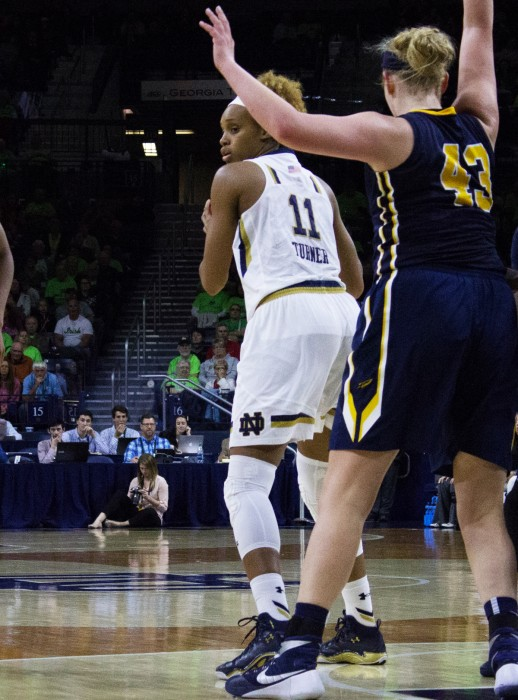 Irish sophomore forward Brianna Turner backs into defender during Notre Dame's 74-39 win over Toledo on Nov. 18 at Purcell Pavilion.