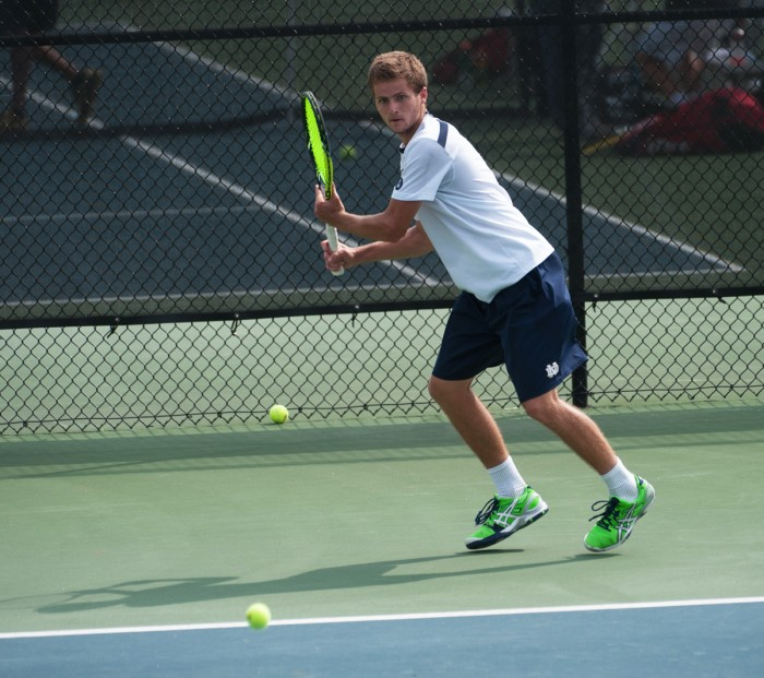 Irish senior Quentin Monaghan prepares to return the ball during Notre Dame's 4-3 win over North Carolina State on April 18 at Eck Tennis Center.