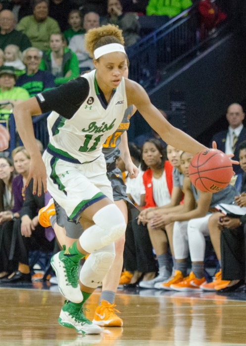 Irish sophomore forward Brianna Turner dribbles upcourt in Notre Dame's 79-66 win over Tennessee on Jan. 18 at Purcell Pavilion.