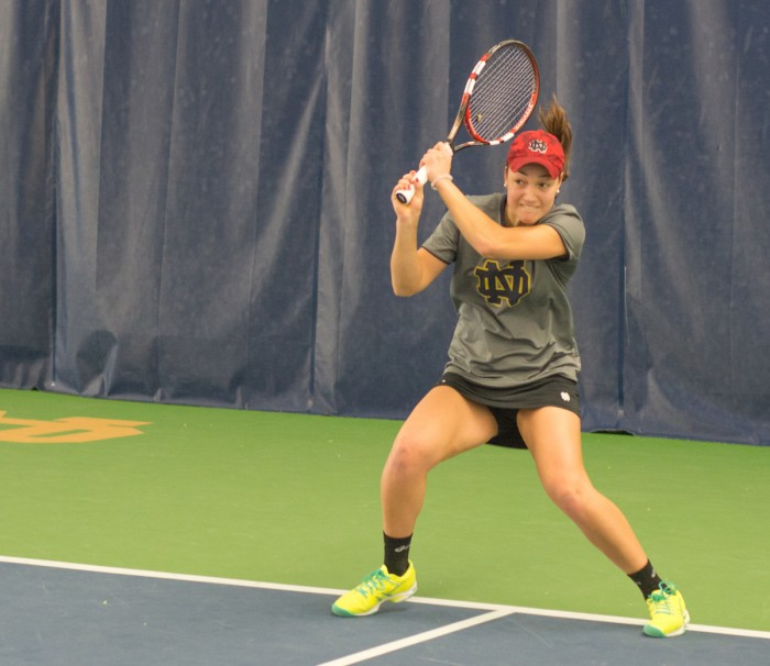 Senior Quinn Gleason returns a shot during Notre Dame's 6-1 victory over Indiana at Eck Tennis Pavilion on Feb. 20.