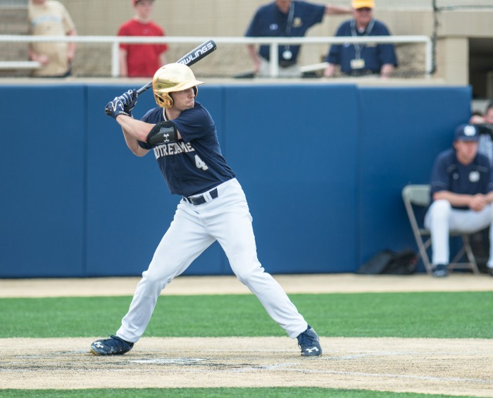 Senior shortstop Lane Richards readies for a pitch during Notre Dame's 7-2 win over NC State on April 18, 2015 at Eck Stadium.