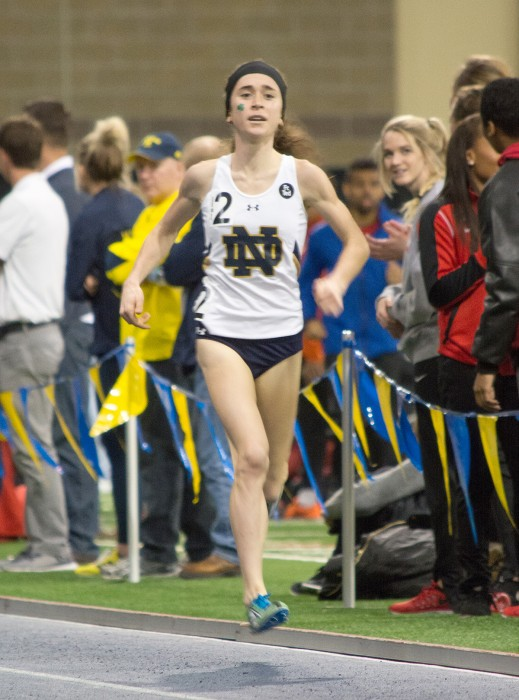 Senior Molly Seidel competes during the Meyo Invitational at Loftus Sports Center on Feb. 6. Seidel set the school's all-time record with a time of 8:57:13 during her 3000-meter run at the event.