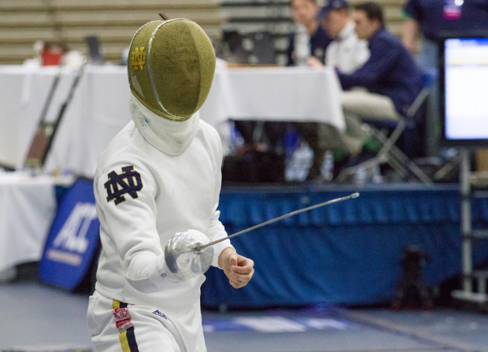 Irish freshman epee Dylan French competes during the ACC championships Sunday at Castellan Family Fencing Center.