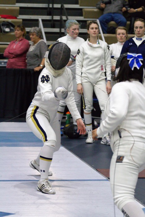 Sophomore Marie-Anne Roche competes in the Northwestern Duals on Saturday at Notre Dame's Castellan Family Fencing Center.