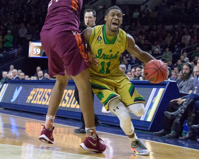 Irish junior guard Demetrius Jackson attempts to get to the baseline during Notre Dame's 83-81 win over Virginia Tech on Jan. 20 at Purcell Pavilion. Jackson had 14 points and eight assists in Sunday's win.