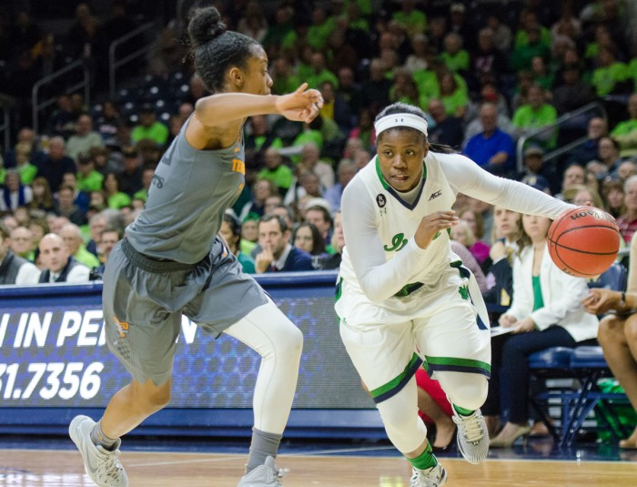 Irish freshman guard Arike Ogunbowale drives towards the lane during Notre Dame's 79-66 win over Tennessee on Jan. 18.
