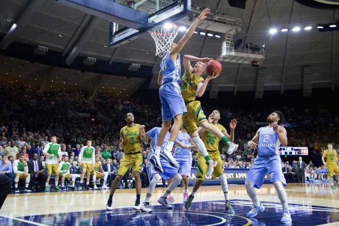 Irish freshman guard Rex Pflueger drives during Notre Dame's 80-76 win over No. 2 North Carolina on Saturday night at Purcell Pavilion.