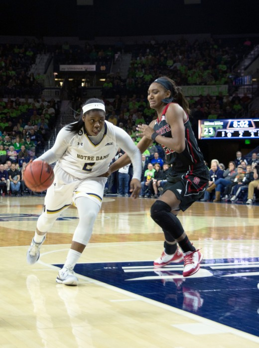 Irish freshman guard Arike Ogunbowale drives to the hoop during Notre Dame's 82-46 victory over North Carolina State on Thursday at Purcell Pavilion. Ogunbowale scored a team-high 15 points and grabbed four rebounds during her team's victory over Louisville on Sunday.