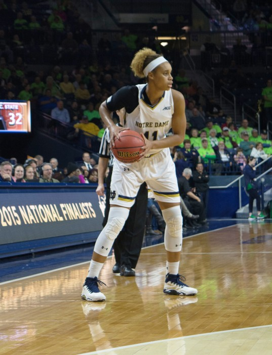 Irish sophomore forward Brianna Turner surveys the court during Notre Dame's 82-46 win over North Carolina State on Thursday. Turner has anchored the Irish defensively, averaging 3.3 blocks per game.