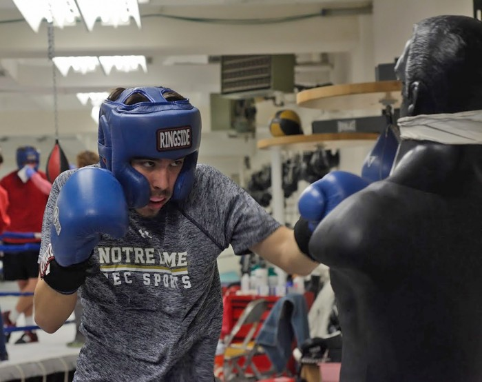 Junior Lorenzo Cabrera of Sorin College prepares for Bengal Bouts during practice at the Pit on Feb. 8. He and the rest of the Bengal Bouts participants will compete Sunday during the first round of the tournament.