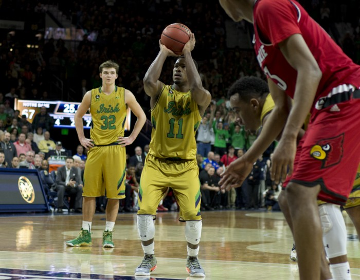 Irish junior guard Demetrius Jackson shoots a free-throw during Notre Dame's 71-66 win over Louisville on Saturday at Purcell Pavilion. Jackson scored a game-high 27 points, which tied his career-high mark.