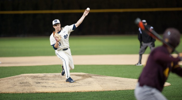 Irish junior left-hander Scott Tully delivers a pitch during Notre Dame's 8-3 win over Central Michigan on March 18 at Frank Eck Stadium. Tully led the team with 63 strikeouts over 65 1/3 innings as he started five games and compiled a 4-4 record and 3.17 earned-run average.
