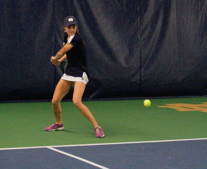 Irish junior Mary Closs positions herself for a backhand during Notre Dame's 7-0 win over Western Michigan on Jan. 19 at Eck Tennis Pavilion. Closs is 8-7 in singles play this season, as well as 2-2 in doubles play with her primary doubles partner, senior Julie Vrabel.