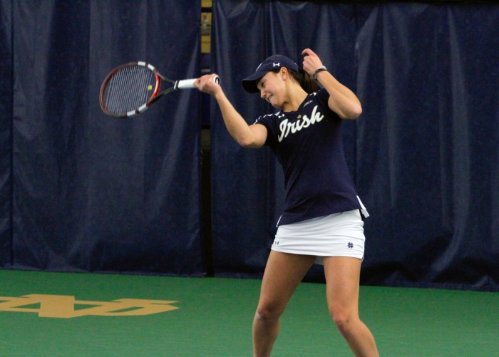 Irish senior Quinn Gleason fires a shot during Notre Dame's 7-0 over Western Michigan on Jan. 19 at Eck Tennis Pavilion.