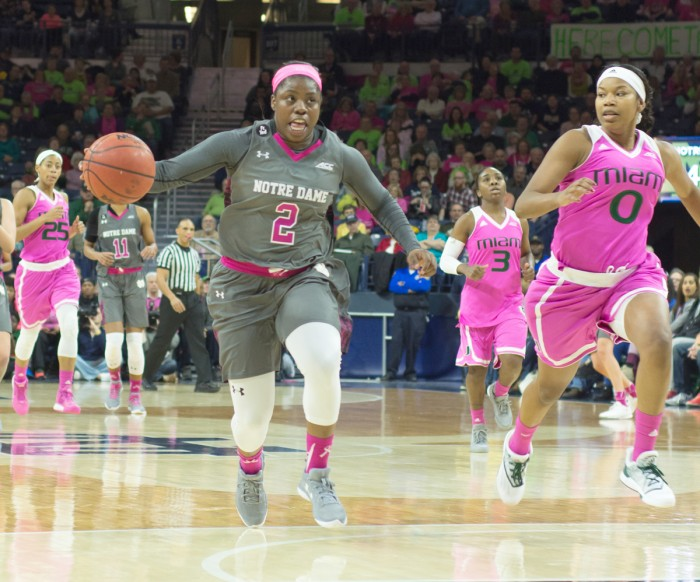 Freshman guard Arike Ogunbowale drives to the basket during Notre Dame's 90-69 victory over Miami at Purcell Pavilion on Feb. 14. Ogunbowale scored 11 points for the Irish during their win against Florida State.