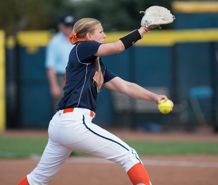 Irish senior left-hander Allie Rhodes delivers a pitch during Notre Dame's 10-1 victory over Syracuse on April 18 at Melissa Cook Stadium. Rhodes is 3-2 with a 3.84 ERA and 37 strikeouts in seven appearances.