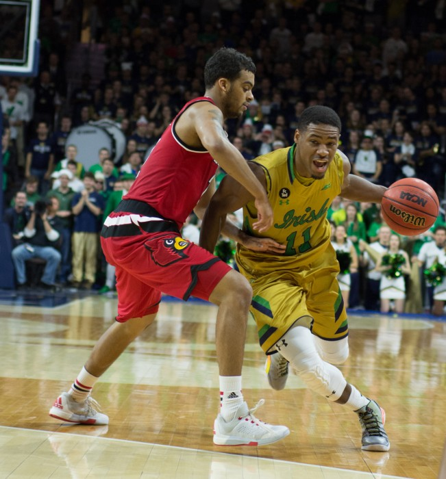 Irish junior guard Demetrius Jackson looks to drive past a defender during Notre Dame's 71-66 win over Louisville on Feb. 13 at Purcell Pavilion. Jackson had 15 points and five assists against Wake Forest.
