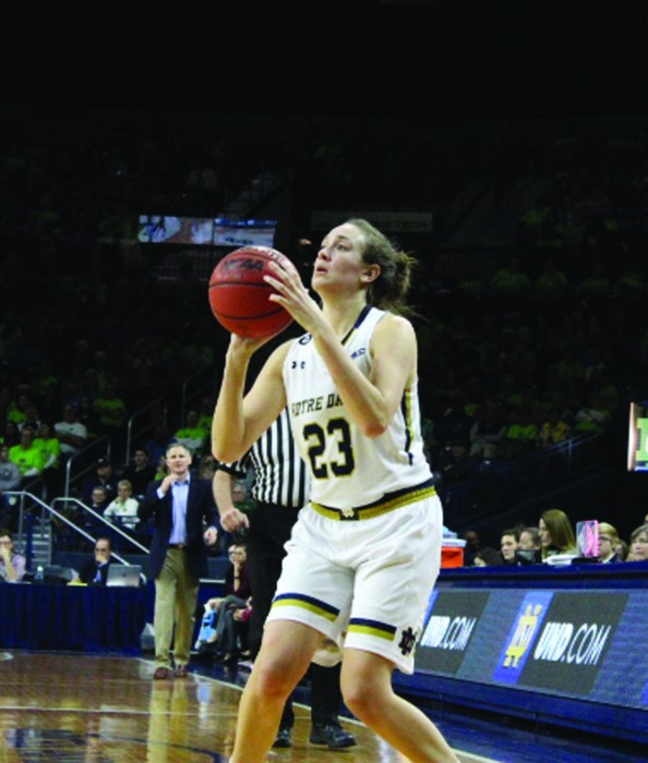 Irish senior guard Michaela Mabrey readies to shoot a 3-pointer during Notre Dame's 70-58 victory over Boston College on Saturday at Purcell Pavilion. Mabrey was one of three players honored on Senior Night.