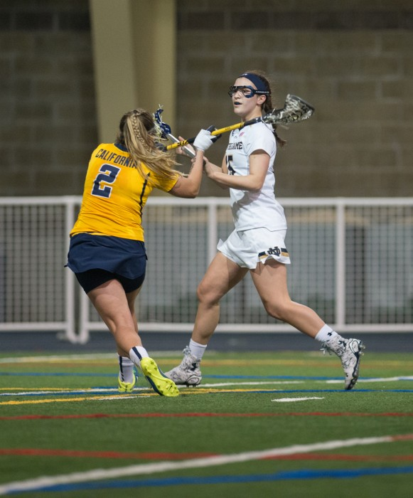 Junior attack Cortney Fortunato looks to make a pass during Notre Dame's 21-2 victory over California at Loftus Sports Center on Feb. 28.
