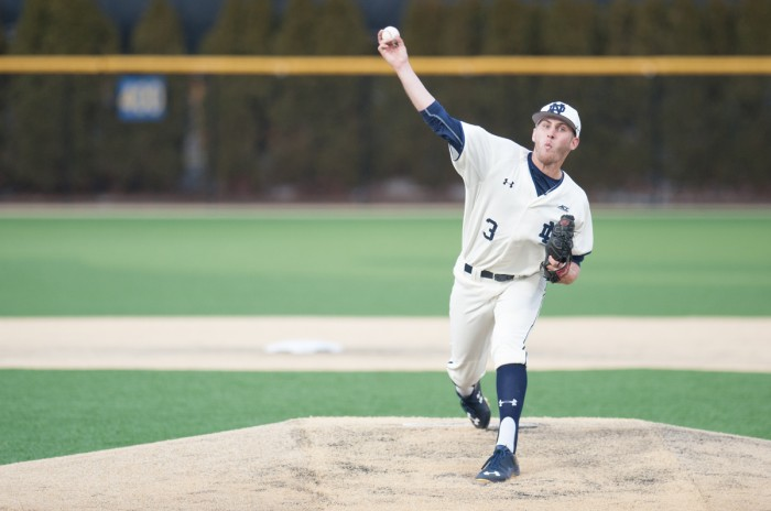 Irish junior Ryan Smoyer pitches during Notre Dame's 8-3 win over Central Michigan on March 18 at Frank Eck Stadium. Smoyer is currently leading Notre Dame with a 1.35 ERA through seven games.
