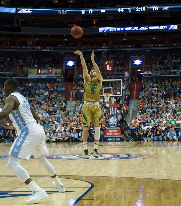 Sophomore guard Matt Farrell, who has started every game this NCAA tournament, takes a 3-pointer during Notre Dame's 78-47 loss against North Carolina on March 11.