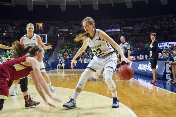 Graduate student guard Madison Cable steps behind the line during Notre Dame's 70-58 win over Boston College on Feb. 27.