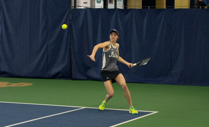 Junior Mary Closs returns a hit in her 6-1 singles victory against Indiana at Eck Tennis Pavilion on Feb. 20.