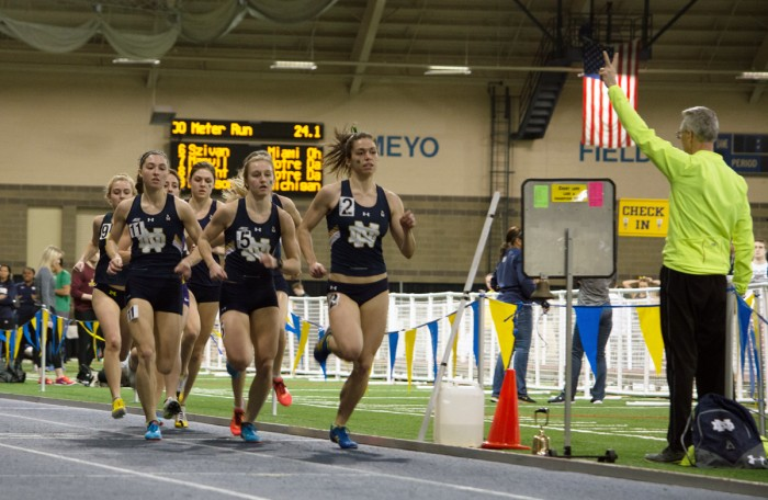 Sophomore Jessica Harris maintains the lead in the distance medley relay at the Alex Wilson Invitational on Feb. 20.