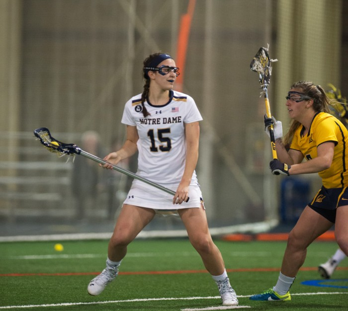 Junior attack Cortney Fortunato surveys the field on offense during Notre Dame's 21-2 win over California on Feb. 28 at Loftus Sports Center.
