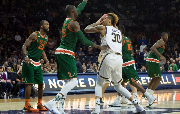 Irish senior forward Zach Auguste looks to score a basket during Notre Dame's 68-50 loss to Miami (Fla.) on March 2 at Purcell Pavilion. Auguste is among the national leaders in double-doubles with 19.