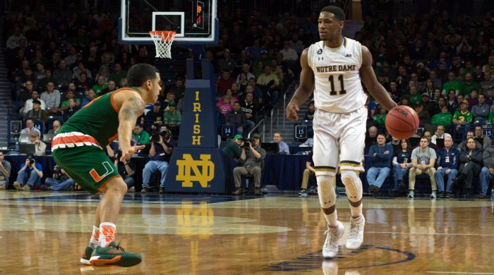 Irish junior guard Demetrius Jackson brings the ball up the court during Notre Dame's 68-50 loss to Miami (Fla.) on March 2.