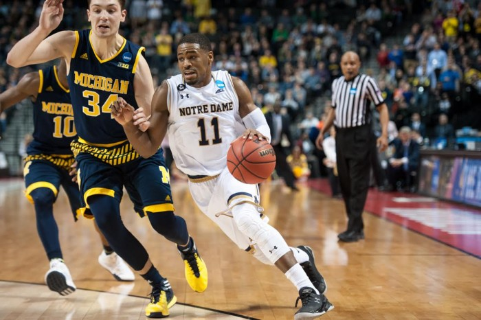 Junior guard Demetrius Jackson drives during Notre Dame's 70-63 win over Michigan on Friday in Brooklyn, New York.