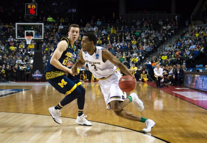 Junior forward V.J. Beachem takes the ball to the hole during Notre Dame's 70-63 win over Michigan on Friday in Brooklyn, New York.