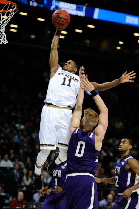 Junior guard Demetrius Jackson throws down a dunk during Notre Dame's 76-75 win over Stephen F. Austin on Sunday at Barclays Center.