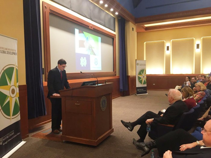 United States Ambassador to the Holy See Ken Hackett speaks at the Eck Visitors Center on Friday afternoon.