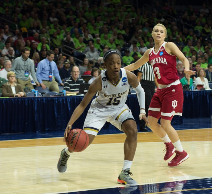 Irish junior guard Lindsay Allen drives to the paint during Notre Dame's 87-70 win over Indiana at Purcell Pavilion on Monday. Allen scored a season-high 22 points to lead her team to the Sweet 16.