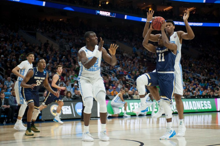 Irish junior guard Demetrius Jackson drives during Notre Dame's 88-74 loss to North Carolina on Sunday at Wells Fargo Center in Philadelphia.