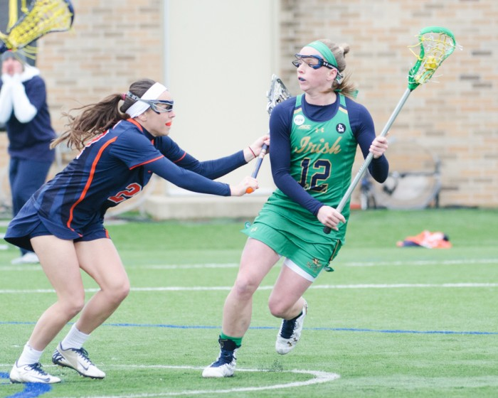 Irish junior midfielder Alex Dalton looks to pass in Notre Dame's 16-4 win over Virginia on March 19 at Arlotta Stadium.  Dalton scored two goals in the first ten minutes of the game against Syracuse.