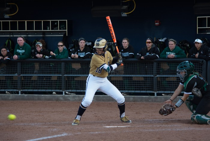 Sophomore left fielder Bailey Bigler awaits a pitch during a 10-2 win over Eastern Michigan on March 22 at Melissa Cook Stadium.